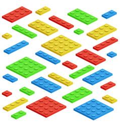 isometric building block toy kids bricks vector image vector image