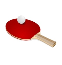 Red ping-pong rackets and white ball vector image vector image