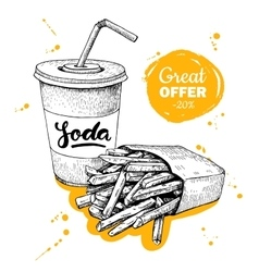 vintage fast food special offer Hand drawn vector image vector image