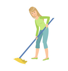 woman washing floor with the mop cartoon adult vector image vector image
