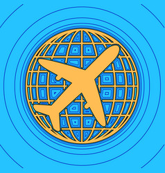 globe and plane travel sign sand color vector image