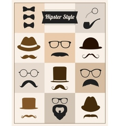 Hipster style mustache hat sunglasses set vector image vector image