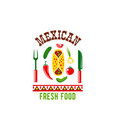 mexican cuisine restaurant cafe menu icon vector image vector image