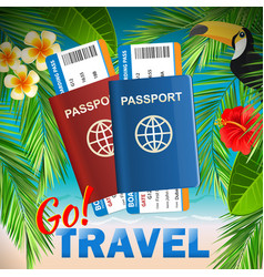 passport with airline tickets on tropical sea vector image vector image
