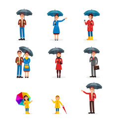 people with umbrellas set man woman and kids vector image vector image