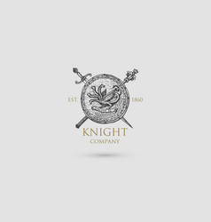 shield with sword knife and mace logo medieval vector image