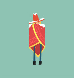 yong man in red poncho and hat freezing and vector image