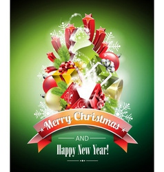 Christmas with magic gift boxes vector image
