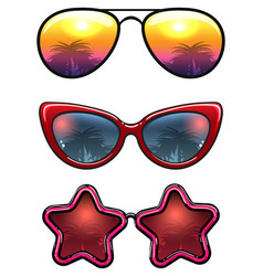 Fashion sunglasses collection with palm trees vector
