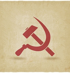 hammer and sickle symbol old background vector image