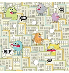 Monsters in the city seamless texture vector image