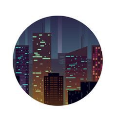 night city with shining buildings vector image