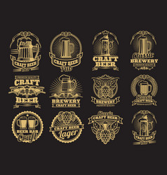 vintage beer labels on black background vector image