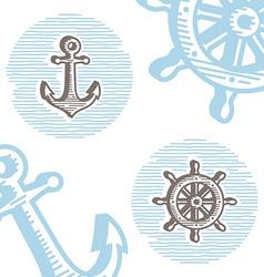 Vintage marine symbols icon set engraving anchor vector