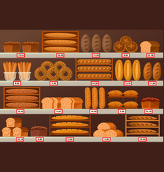 bakery stall or showcase with loaf of bread vector image