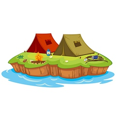 Base camp on an island vector image