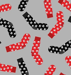Black and Red socks with skull seamless pattern vector image