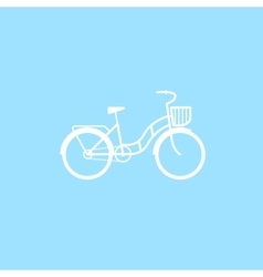 Female bicycle with a basket vector image vector image