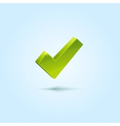 Green check mark isolated on blue background vector
