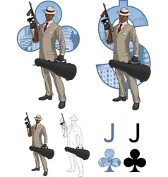 Jack of clubs afroamerican mafioso with Tommy-gun vector image vector image