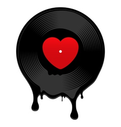 Melted vinyl record with heart vector image vector image