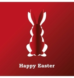 Paper rabbit on a red background vector image vector image