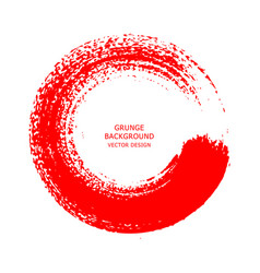 red ink round brush stroke on white background vector image vector image