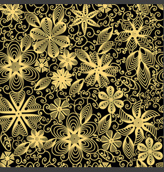 seamless background with swirls flowers and leaves vector image vector image