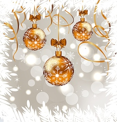 Shimmering background with Christmas balls vector image vector image