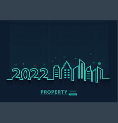 2022 new year city skyline line art creative vector