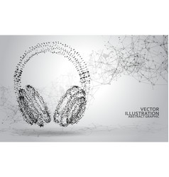 abstract dotted headphones on white abstract vector image