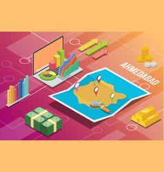 Ahmedabad city isometric financial economy vector