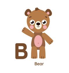 Alphabet letter b bear vector