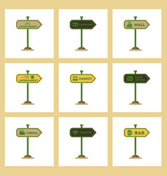 assembly flat icons sign of bar post office mall vector image