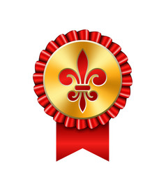 award ribbon gold icon golden medal red fleur de vector image