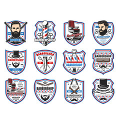 Barber shop signs mustaches and beard shave salon vector