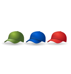Baseball caps set realistic hat collection vector