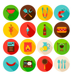 bbq party circle icons set vector image