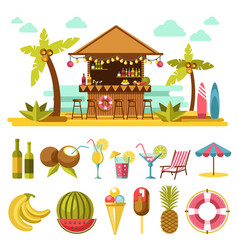 beach entertainments and set of elements below on vector image