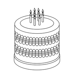Bicolor cake icon in outline style isolated on vector