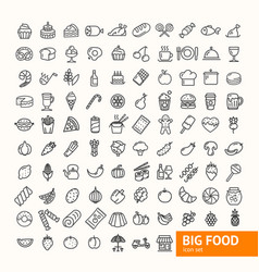 big food black thin line icon set vector image