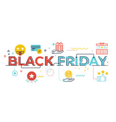 black friday word lettering vector image