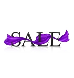Black SALE sign with violet silky ribbon vector image