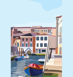 Boats on the shore in venice scenic old streets vector