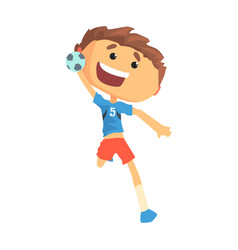 boy handball player character cartoon vector image