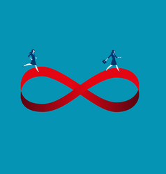 businesswomen running on infinity symbol concept vector image