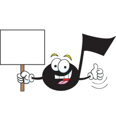 Cartoon musical note holding a sign vector image
