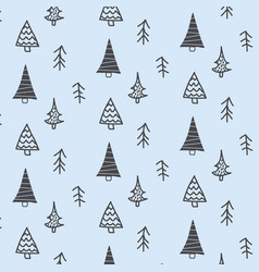 christmas doodle tree pattern vector image