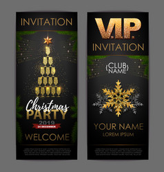 christmas poster with golden champagne glasses vector image