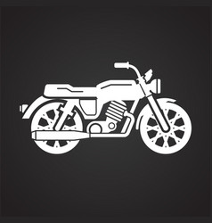 Classic motorcycle icon on black background for vector